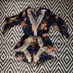 Women's Floral Lace Romper. Excellent Condition.